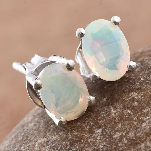 Ethiopian Welo Opal (Ovl) Stud Earrings (with Push Back) in Platinum Overlay Sterling Silver 0.750 Ct.