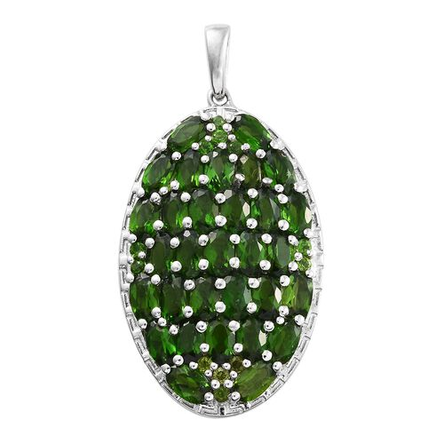 Russian Diopside (Ovl) Pendant in Platinum Overlay Sterling Silver 8.500 Ct.