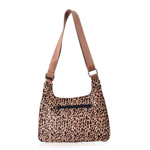 Leopard Pattern Chocolate Colour Crossbody Bag with External Zipper Pocket (Size 28x20x7.5 Cm)