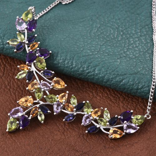 Celebrity Inspired Hebei Peridot,Amethyst, Rose De France,Citrine and Iolite RAINBOW Necklace (Size 18) in Platinum Overlay Sterling Silver 18.000 Ct. Silver Wt 16.42 Gms