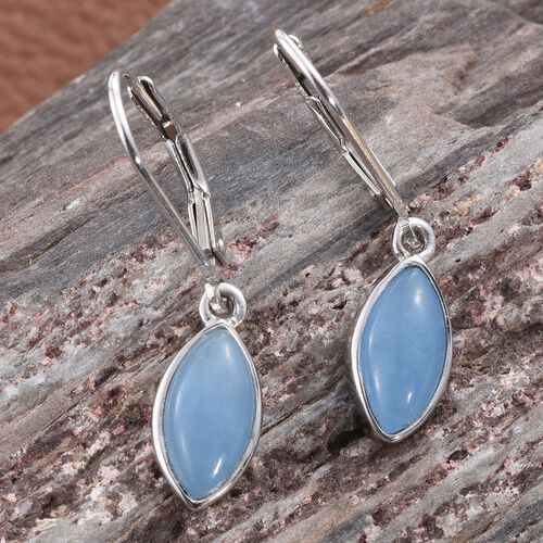 Blue Jade (Mrq) Lever Back Earrings in Platinum Overlay Sterling Silver 2.750 Ct.