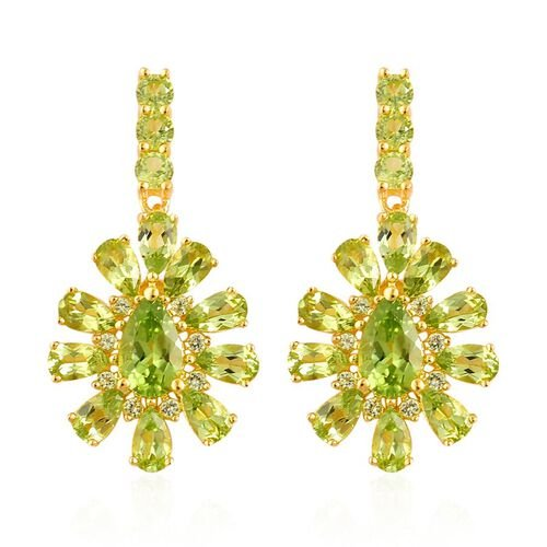 AA Hebei Peridot (Pear) Earrings (with Push Back) in Yellow Gold Overlay Sterling Silver 7.000 Ct.