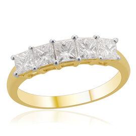 ILIANA 18K Yellow Gold 1 Carat IGI Certified Princess Cut Diamond (SI /G-H) 5 Stone Ring