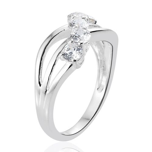 J Francis - Sterling Silver (Rnd) 5 Stone Criss Cross Ring Made with SWROVSKI ZIRCONIA