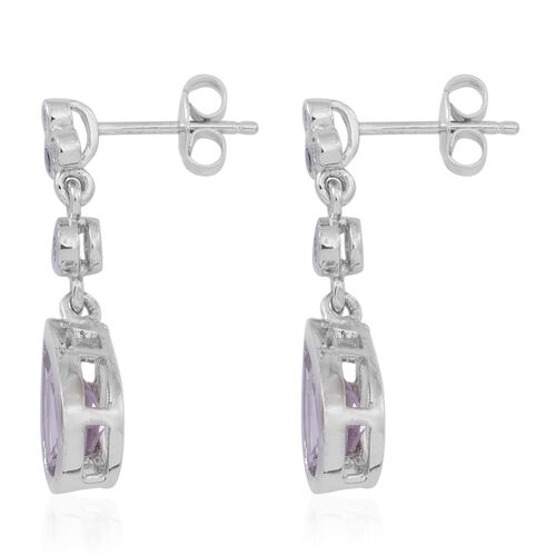 Rose De France Amethyst (Pear), White Topaz Earrings (with Push Back) in Rhodium Plated Sterling Silver 4.000 Ct.