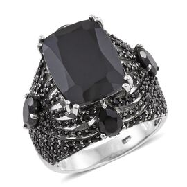 Boi Ploi Black Spinel (Cush 11.40 Ct) Ring in Platinum Overlay Sterling Silver 17.500 Ct. Silver wt. 9.60 Gms. Number of Gemstone 229