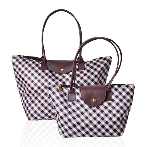 Designer Inspired - Set of 2 - Gingham Water Resistance Large Handbag (Size 45x28x27.5x17 Cm) and Small Handbag (Size 32x21x20x12.5 Cm)