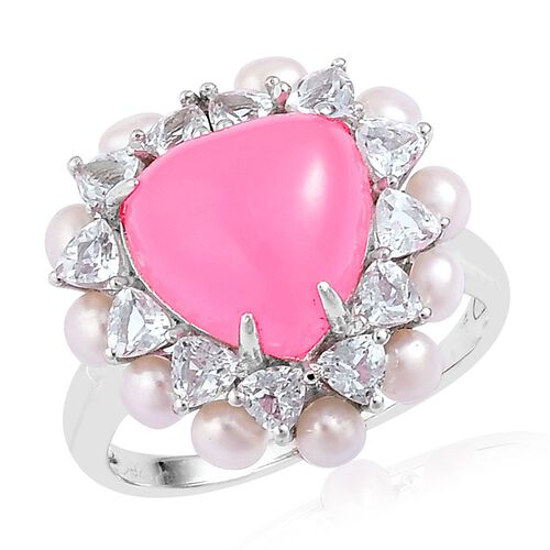 Pink Jade (Hrt 5.50 Ct), Fresh Water Pearl and White Topaz Ring in Rhodium Plated Sterling Silver 8.750 Ct.