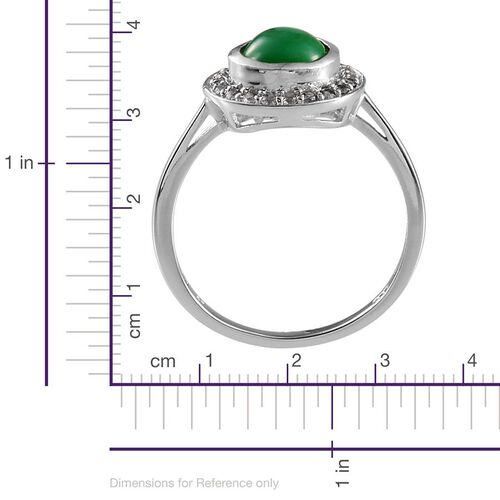 Green Ethiopian Opal (Pear 1.25 Ct), White Topaz Ring in Platinum Overlay Sterling Silver 1.750 Ct.