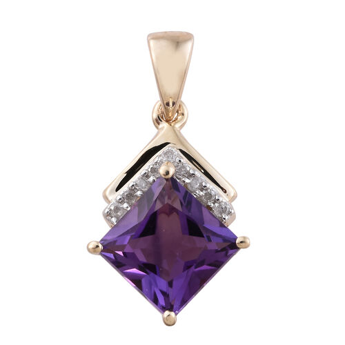 9K Yellow Gold 1.60 Ct AA Princess Cut Amethyst Pendant with Diamond