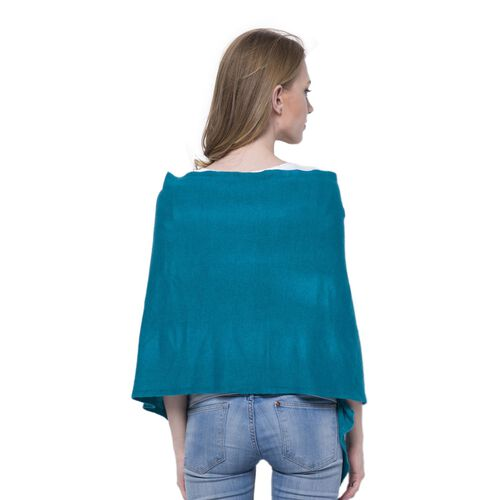 Simulated Pearls Embellished Blue Colour Poncho (Size 180x45 Cm)