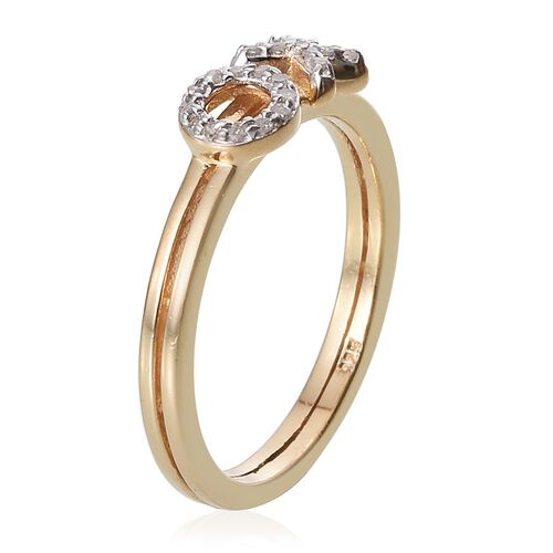 Diamond (Rnd) XO Ring in 14K Gold Overlay Sterling Silver 0.100 Ct.