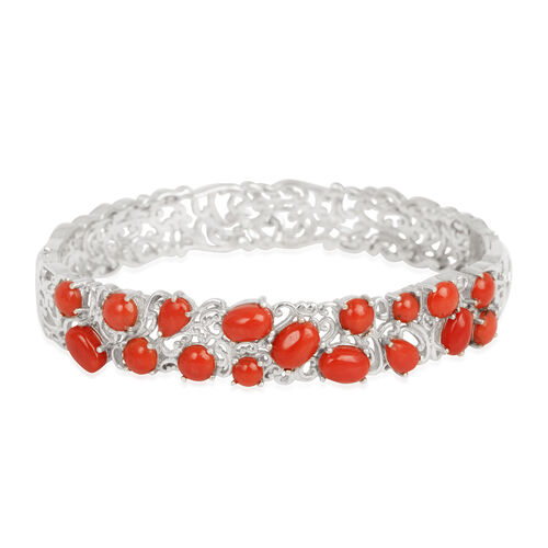 Natural Mediterranean Coral (Ovl) Bangle (Size 7) in Platinum Overlay Sterling Silver 7.000 Ct.