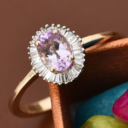 14K Yellow Gold Pink Tanzanite (Ovl), Diamond Ring 0.900 Ct.