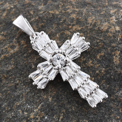 J Francis - Platinum Overlay Sterling Silver (Rnd and Bgt) Cross Pendant Made with SWAROVSKI ZIRCONIA