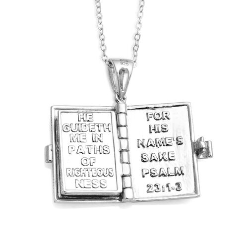 Platinum and 22K Yellow Gold Overlay Sterling Silver Holy Bible Pendant With Chain (Size 18), Silver wt. 7.68 Gms.