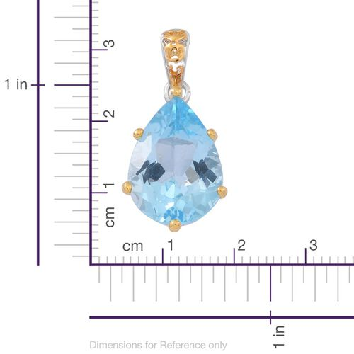 AAA Sky Blue Topaz (Pear) Pendant with Chain in Rhodium and Yellow Gold Overlay Sterling Silver 14.000 Ct.
