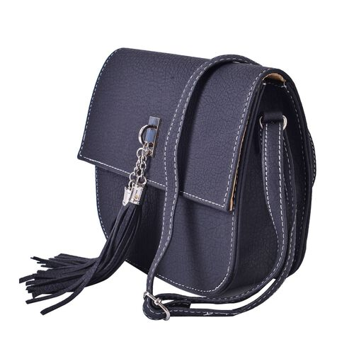 Black Colour Crossbody Bag with Adjustable Shoulder Strap with Tassels (Size 20x18x6.6 Cm)