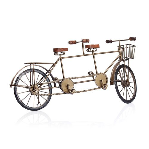 Handcrafted Vintage Style Golden Colour 2 Seated Bicycle with a Basket at the Front