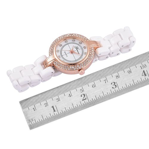 GENOA Japanese Movement White Austrian Crystal White Dial Water Resistant Watch in Rose Gold Tone with Stainless Steel Back and White Ceramic Strap