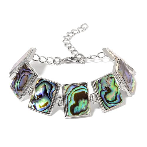 Hand Made Abalone Shell Bracelet (Size 7 with 1 inch Extender) in Silver Tone 40.000 Ct.