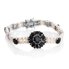 OTO - Boi Ploi Black Spinel ,Fresh Water Pearl Floral Bracelet (Size 7.5) in Platinum Overlay Sterling Silver 28.000 Ct. Silver wt. 17.17 Gms.