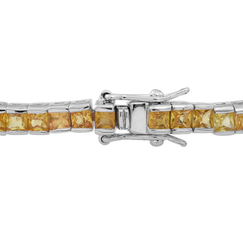 AAA Chanthaburi Yellow Sapphire (Princess) Tennis Bracelet (Size 7.5) in Rhodium Plated Sterling Silver 9.000 Ct.