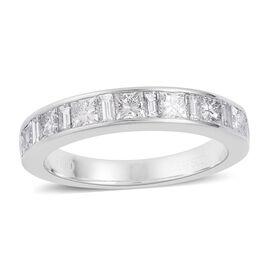 RHAPSODY 950 Platinum IGI Certified Diamond (Princess Cut) (VS/F) Half Eternity Band Ring 1.000 Ct.
