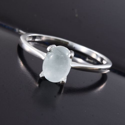 Brazilian Aquamarine (Ovl) Solitaire Ring in Sterling Silver 1.000 Ct.