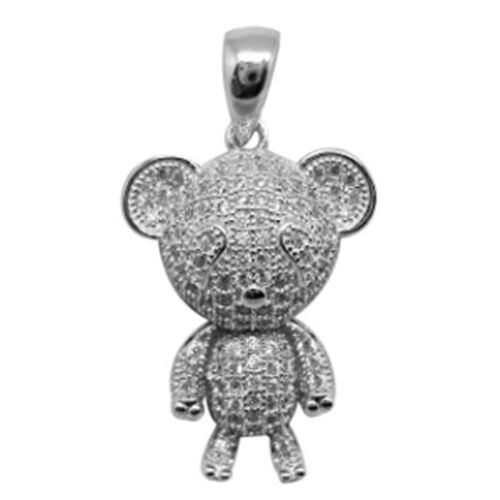 ELANZA AAA Simulated Diamond (Rnd) Teddy Bear Pendant in Rhodium Plated Sterling Silver