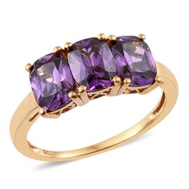 ELANZA AAA Simulated Amethyst (Cush) Trilogy Ring in 14K Gold Overlay Sterling Silver