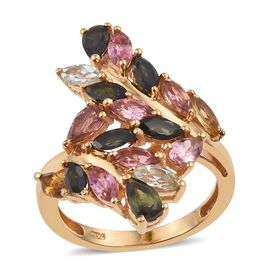 Rainbow Tourmaline (Pear) Leaves Crossover Ring in 14K Gold Overlay Sterling Silver 2.750 Ct.
