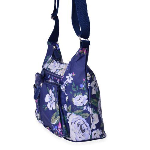 Designer Inspired - Dark Blue and Multi Colour Floral Pattern Crossbody Bag with External Zipper Pocket and Adjustable Shoulder Strap (Size 34X22.5X12 Cm)