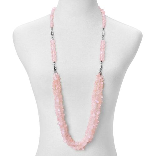 Rose Quartz Beads Multi Functional Necklace (Size 18) with Magnetic Clasp Lock in Silver Tone 599.500 Ct.