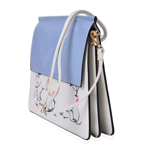 Designer Inspired - Flowers and Leaves Embroidered Light Blue and White Colour Shoulder Bag with Adjustable and Removable Strap (Size 31.5X28X25X1.5 Cm)