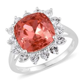 J Francis Crystal from Swarovski - Indian Pink Crystal (Cush), White Crystal Ring in Sterling Silver, Silver wt 3.07 Gms.