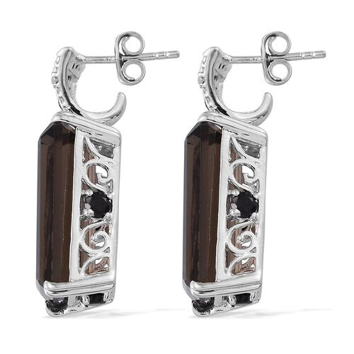 Brazilian Smoky Quartz (Oct), Boi Ploi Black Spinel and Diamond Earrings (with Push Back) in Platinum Overlay Sterling Silver 21.800 Ct.