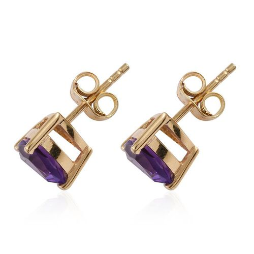 Lusaka Amethyst (Trl) Stud Earrings (with Push Back) in 14K Gold Overlay Sterling Silver 2.000 Ct.