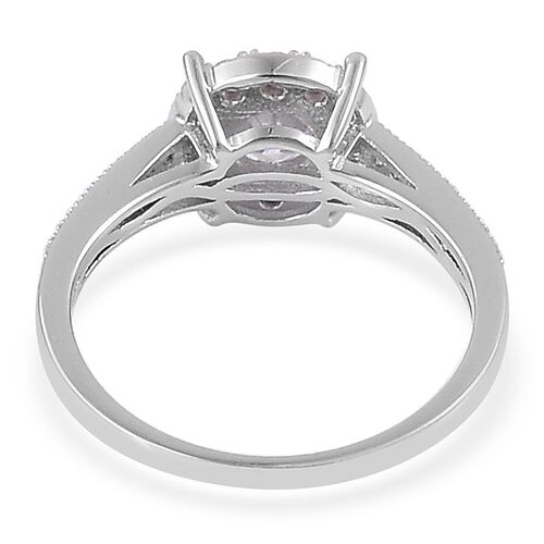 AAA Simulated White Diamond (Rnd) Ring in Rhodium Plated Sterling Silver