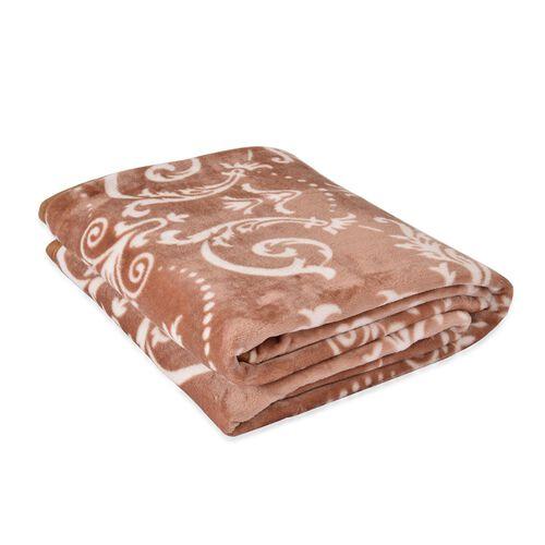 Superfine 300 GSM Microfiber Printed Flannel Light Brown Colour Renaissance Pattern Blanket (Size 200X150 Cm)