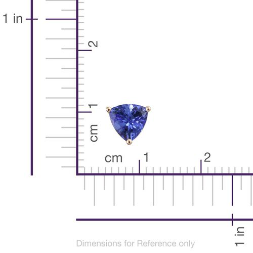 14K Yellow Gold AA Tanzanite 1.50 Ct Stud Earrings (with Push Back)