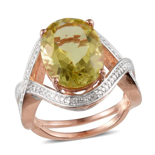 Brazilian Green Gold Quartz (Ovl 8.50 Ct), Diamond Ring in Rose Gold Overlay Sterling Silver 8.520 Ct.