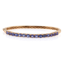 4.46 Ct Tanzanite Bangle in Gold Plated Silver 13.90 gms 7.25 Inch