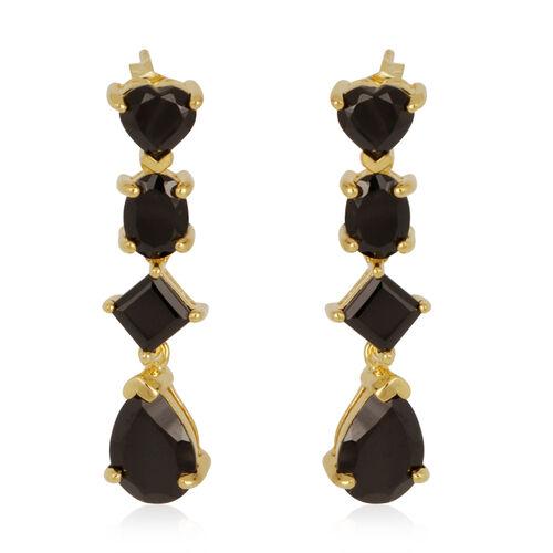 Boi Ploi Black Spinel (Pear) Earrings in 14K Gold Overlay Sterling Silver 8.700 Ct.