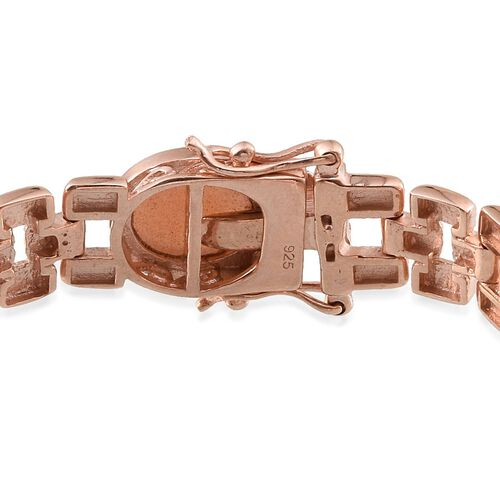 Morogoro Peach Sunstone (Ovl) Bracelet (Size 7.5) in Rose Gold Overlay Sterling Silver 26.000 Ct.