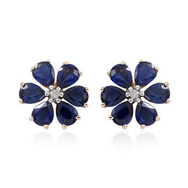 9K Y Gold Australian Blue Sapphire (Pear), Diamond Floral Stud Earrings (with Push Back) 3.500 Ct.