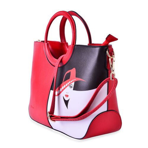 MILANO COLLECTION Navigli Glamour Red Hat Girl Tote Bag with External Zipper Pocket and Adjustable, Removable Shoulder Strap  (Size 35x20x11 Cm)