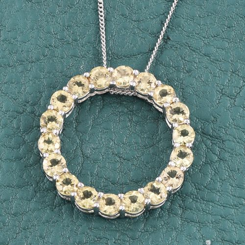 Tanzanian Golden Scapolite (Rnd) Circle of Life Pendant With Chain in Platinum Overlay Sterling Silver 2.500 Ct.