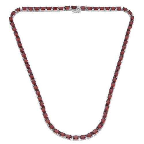 Mozambique Garnet (Cush) Necklace (Size 18) in Rhodium Plated Sterling Silver 50.000 Ct.