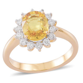 Signature Collection ILIANA 2.75 Ct AAA Premium Size Loupe Clean Chanthaburi Yellow Sapphire and Diamond (SI/G-H) Ring in 18K Gold 5 gms